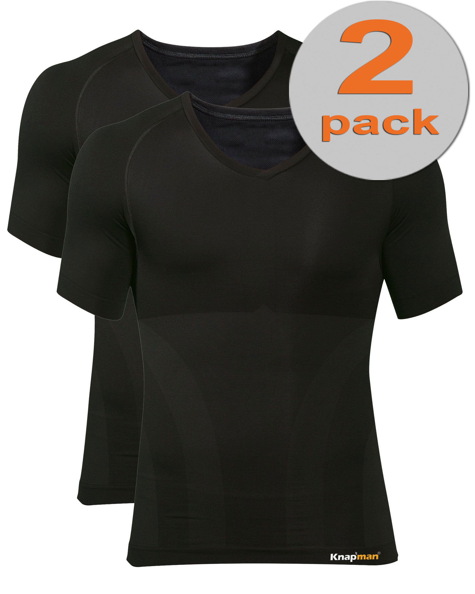 TWOPACK | Knap'man Zoned Cotton Comfort V-hals shirt zwart
